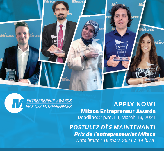 Image of Mitacs Entrepreneur Award winners smiling with trophies